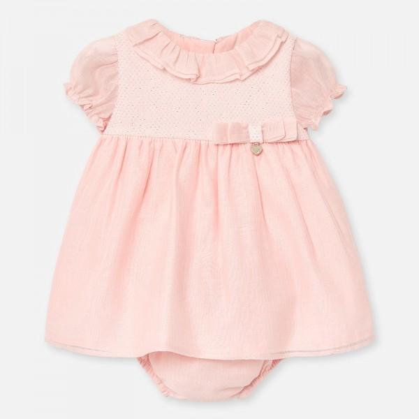 Официална рокля с панделка и гащички за новородено бебе момиче