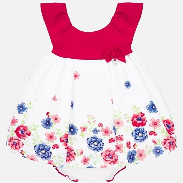 Рокля от сатен с флорален принт и гащички за новородено бебе момиче