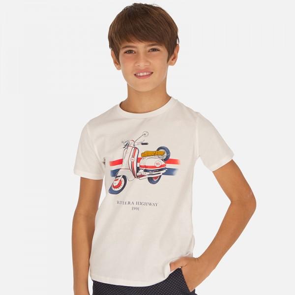 Тениска с принт мотопед - тийн серия