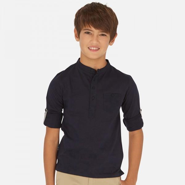 Едноцветна блуза с копчета