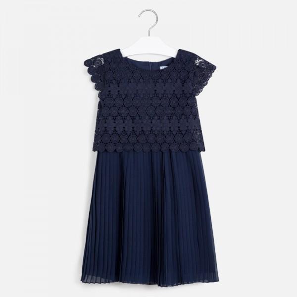 Комбинирана рокля с плисирана долна част