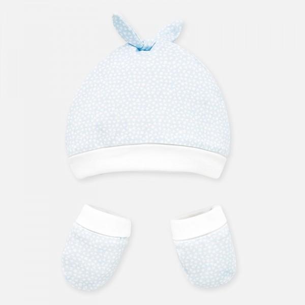 Комплект шапка с ушички и ръкавички