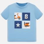 Тениска с квадратен принт мотор за бебе момче