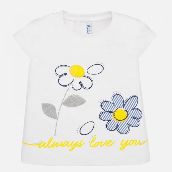 Тениска с принт маргаритки за бебе момиче