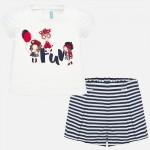 Комплект тениска и къси панталони на райета за бебе момиче