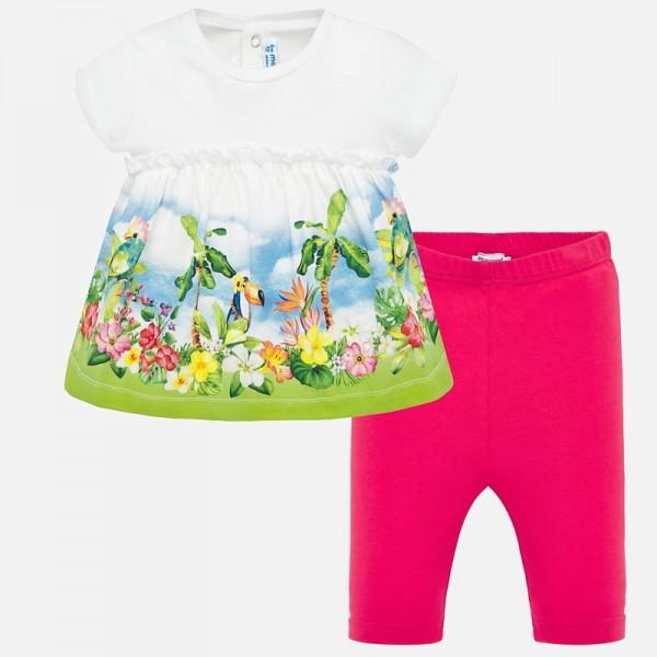 Комплект туника с тропически принт и клин за бебе момиче