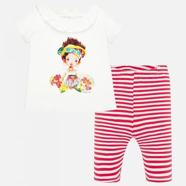 Комплект тениска и клин на райета за бебе момиче