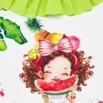 Бански костюм с къдричка и принт за бебе момиче