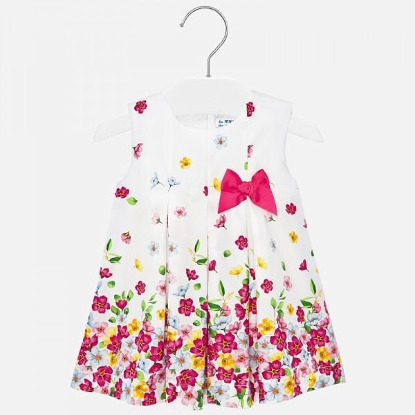 Рокля с щампи на цветя и панделка за бебе момиче