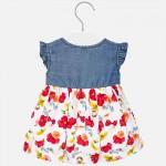 Комбинирана рокля с деним за бебе момиче