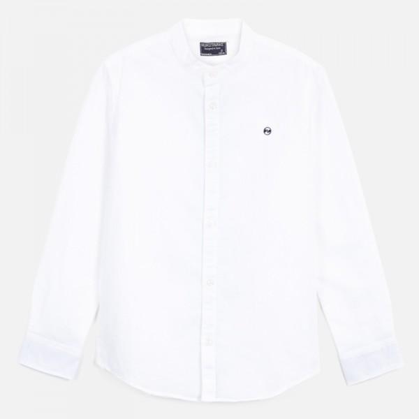Риза от лен с дълъг ръкав и яка тип мандарин за момче