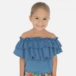 Дънкова блуза с волани за момиче
