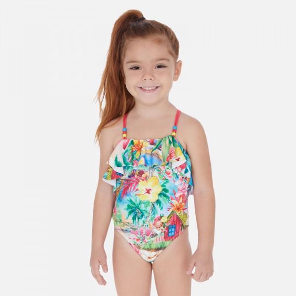 Бански костюм с щампи за момиче