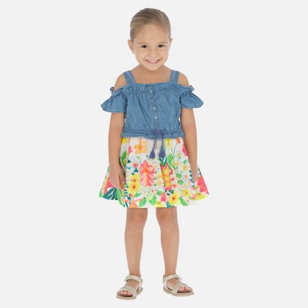 Комбинирана дънкова рокля за момиче