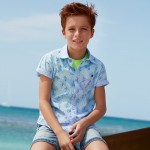 Риза райе с къс ръкав и щампи за момче