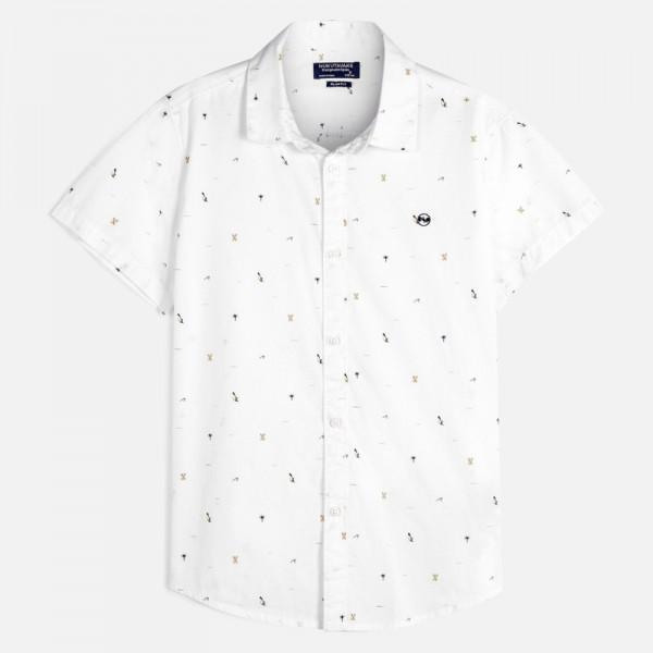 Риза с къс ръкав и микро щампи за момче