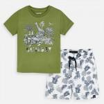 Комплект тениска със сафари принт  и бермуди с щампи за момче