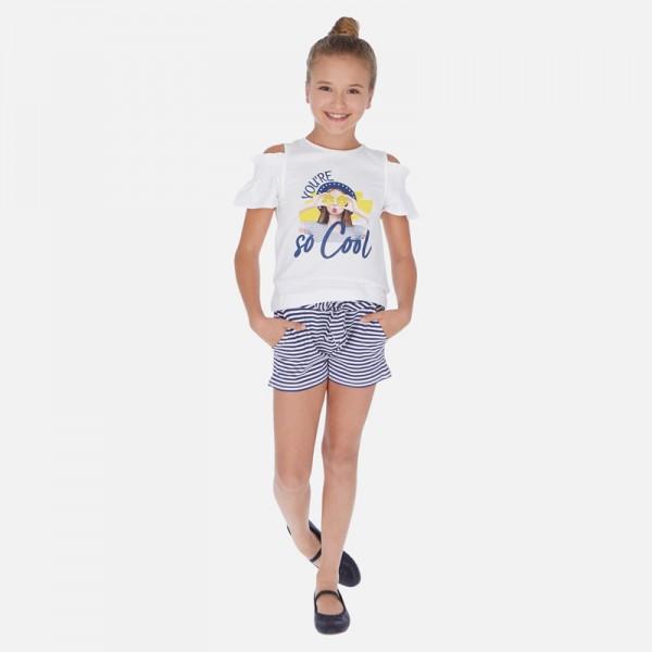 Комплект тениска и къси панталони с панделка за момиче
