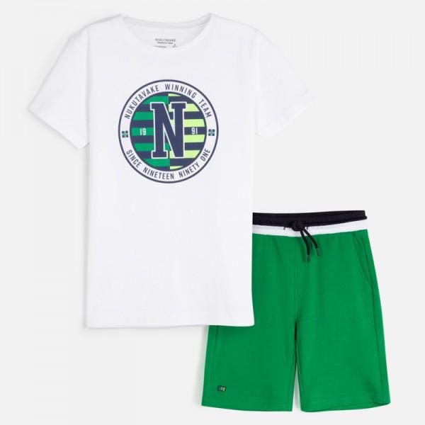 Комплект тениска с лого и бермуди за момче
