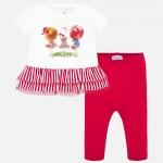 Комплект тениска с момиченца в съчетание с клин за бебе момиче
