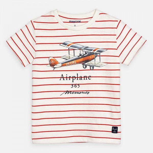 Тениска на райета с принт кола