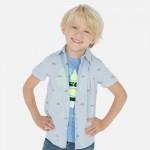 Риза с къс ръкав и щампи за момче