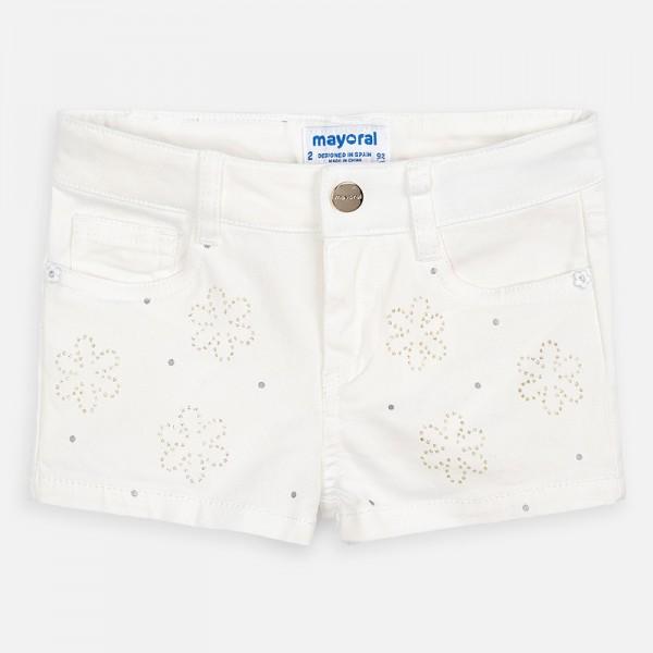 Къс панталон с апликации цветя за момиче