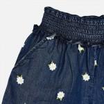 Къси панталонки деним с бродерия цветя