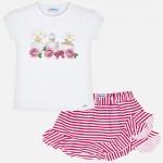 Комплект тениска и пола на райета за момиче
