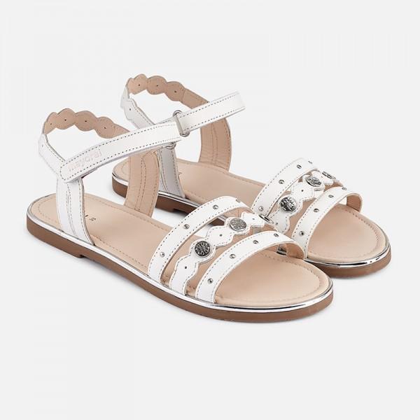 Кожени сандали за момиче с детайли