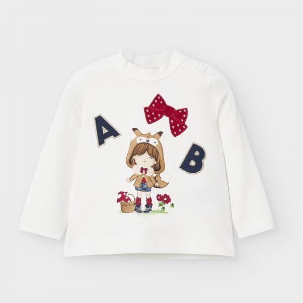 Блуза с висока яка и апликации за бебе момиче