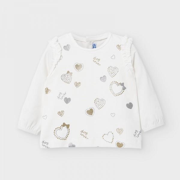 Блуза с принт и къдрички отпред