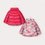 Цветно двулицево яке без качулка за бебе момиче