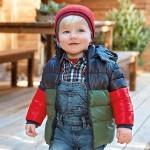 Трицветно ватирано яке за бебе момче