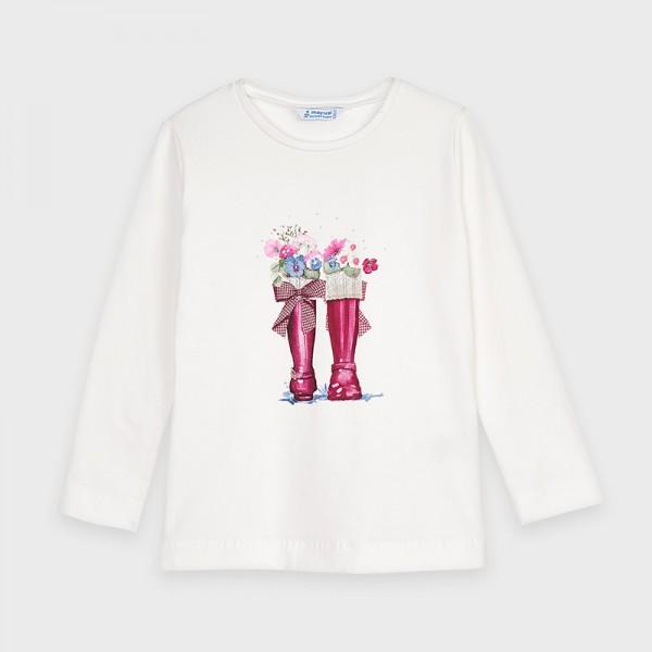 Блуза с принт ботушки за момиче
