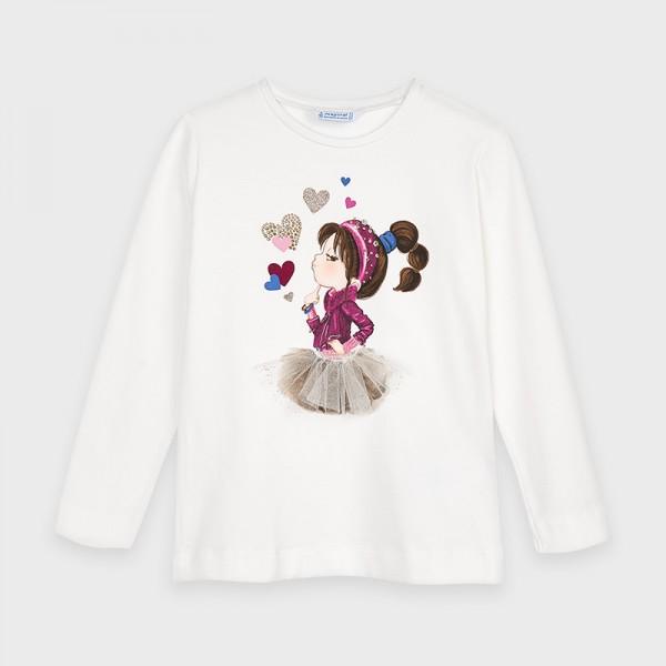 Блуза с принт сърчица и момиченце за момиче