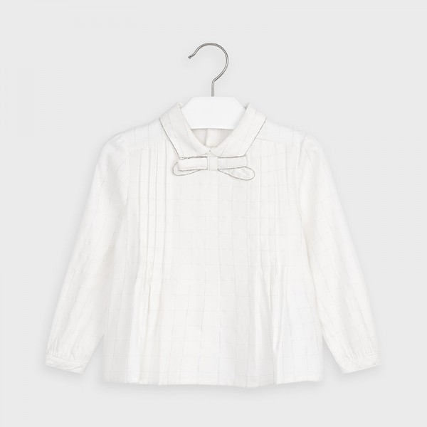 Елегантна блуза за момиче с яка и панделка