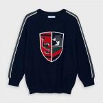 Пуловер със странични кантове и бродерия отпред за момче