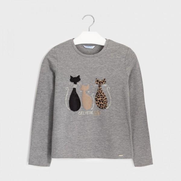 Блуза с рисунка котки с косъм за момиче
