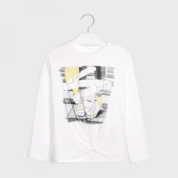 Блуза с принт и възел отпред за момиче - тийн серия
