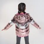 Метализирана шуба на едри ленти за момиче - тийн серия