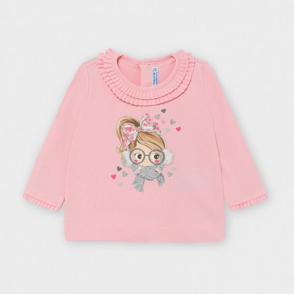Блуза с цветен принт за бебе момиче
