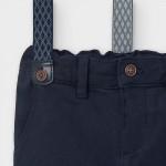 Дълъг подплатен панталон от пике с тиранти за бебе момче