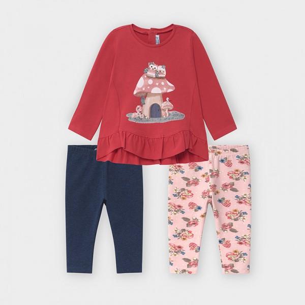 Комплект с клин в 3 части за бебе момиче