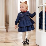 Дънкова рокля с волани за бебе момиче