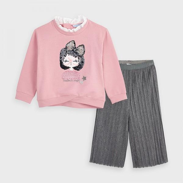 Комплект блуза с широк плисиран панталон за момиче