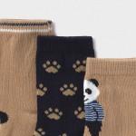Сет от 3 чифта чорапи с панда за бебе момче