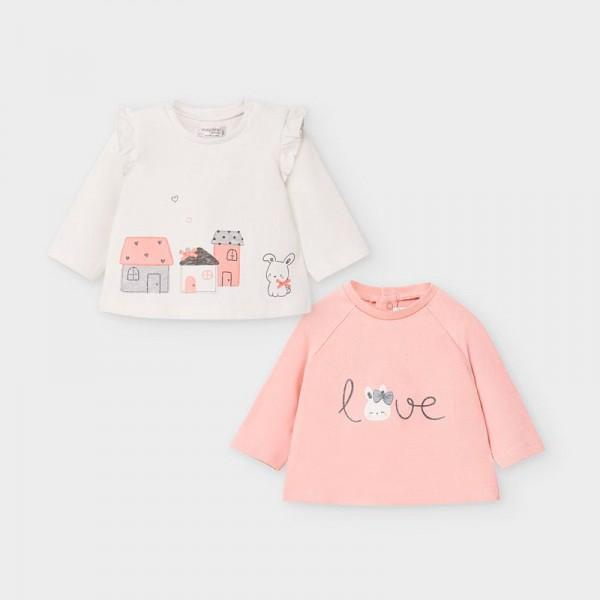 Комплект 2 блузи със зайче за новородено момиче