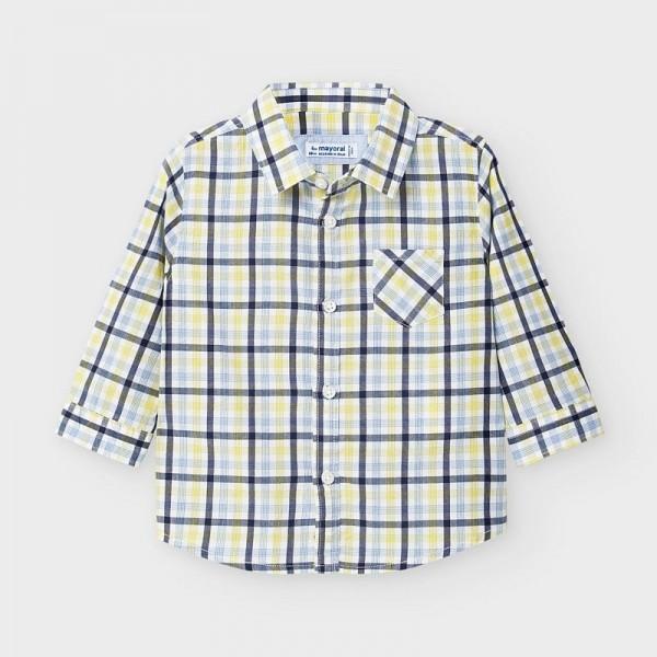 Риза на карета с дълъг ръкав от поплин за бебе момче