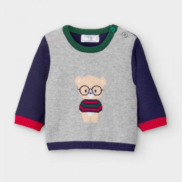Пуловер от жакард с мече за новородено момче